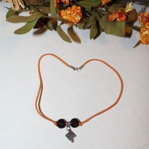 Jewelry - Graduation Cap Pendant Knotted Leather Necklace